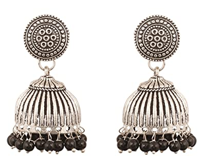 024aa2ca1 Buy Touchstone Tribal Bohemian Chic Gypsy Indian Jewelry-Afghani Dusky Designer  Jhumki Earrings Hung with Black Beads for Women in Oxidized Silver Tone for  ...