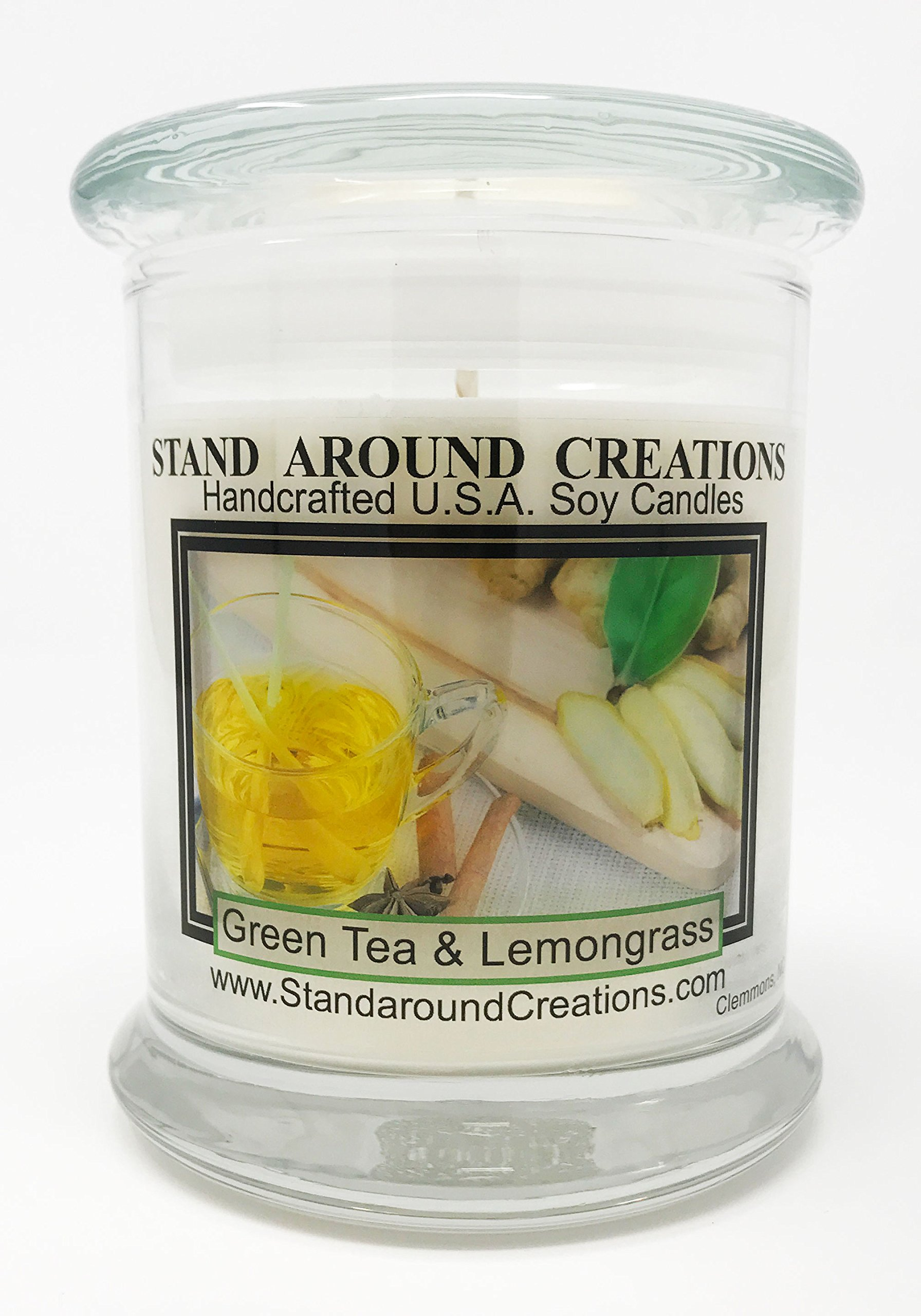 Premium 100% Soy Candle - 12 oz. Status Jar -Green Tea and Lemon Grass: Bright and natural citrus begins w/notes of bergamot tea and plum w/jasmine and orange flowers w/a clean citrus musk.