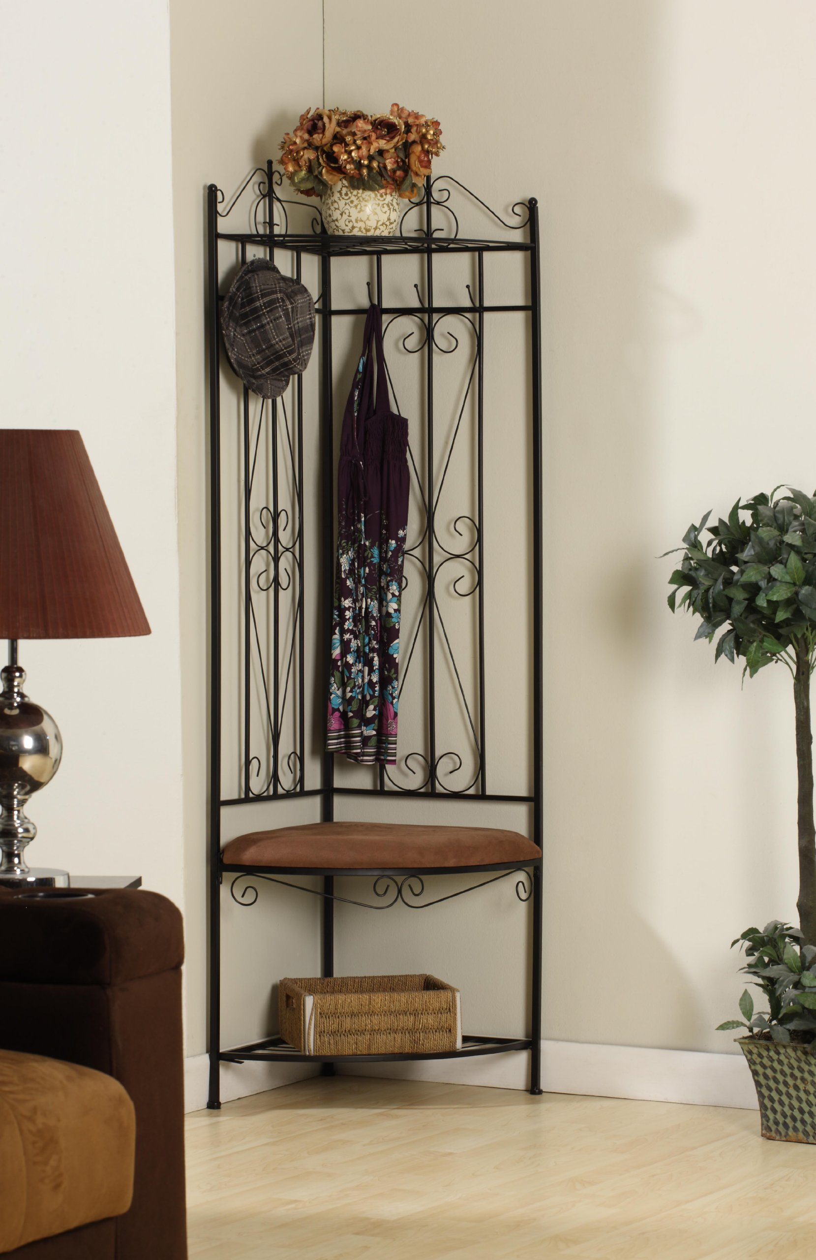 King's Brand Black Metal Corner Entryway Hallway Rack with Bench & 6 Hooks by King's Brand