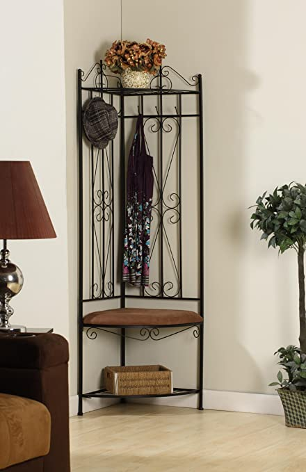Strange Kings Brand Black Metal Corner Entryway Hallway Rack With Bench 6 Hooks Machost Co Dining Chair Design Ideas Machostcouk