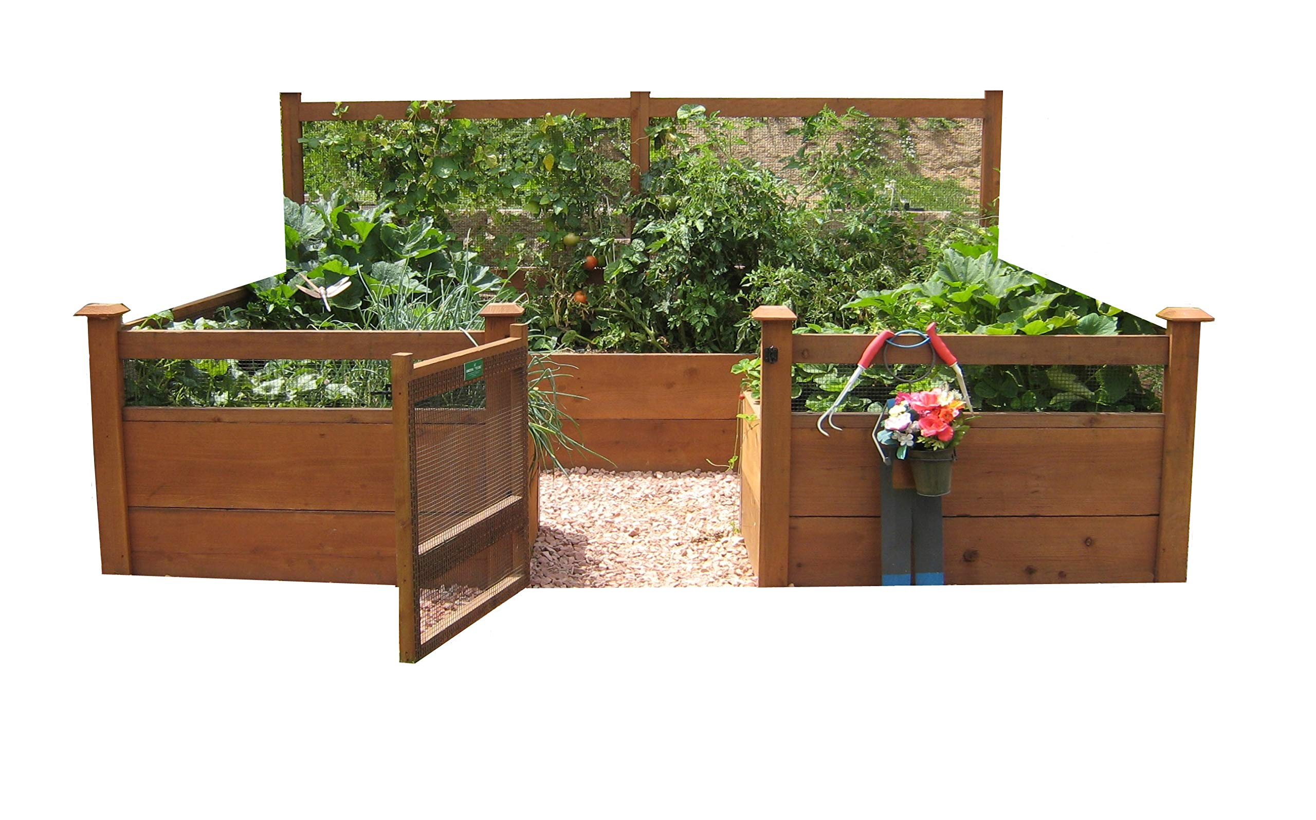 """Just Add Lumber Vegetable Garden Kit - 8'x12' Deluxe 1 DOES NOT INCLUDE LUMBER. Kit includes everything but the lumber: 12 Raised bed brackets, black plastic netting for fencing, black nylon netting for rear trellis, black vinyl-coated steel wire for gate, ceramic-coated rust resistant screws, plus all other required hardware and detailed instructions Buy your own rough lumber locally - Build the ultimate vegetable garden with this kit. Required rough construction lumber : (6) 2""""x10""""x12', (6) 2""""x10""""x8', (5) 2""""x4""""x12', (1) 2""""x4""""x6', (4) 2""""x2""""x12', (3) 1-5/8""""x1-5/8""""x12' (actual size). Note: the lumber boards will need to be further cut into the sizes described in the assembly instructions Gated garden keeps out rabbits and dogs"""