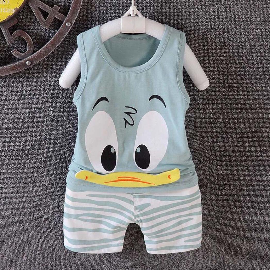 890b36750e9 Amazon.com  FEITONG 2Pcs Toddler Baby Girls Boys Cartoon Vest Tops Shorts  Outfits Set  Baby