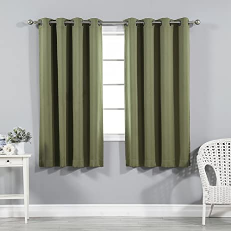 Best Home Fashion Thermal Insulated Blackout Curtains   Antique Bronze  Grommet Top   Olive   52u0026quot