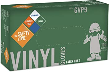 Disposable Vinyl Gloves - Powder Free, Clear, Latex Free and Allergy Free, Plastic