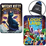Set of 2 Logic Puzzles Witchy Kitty and Logic Land, Includes Myriads Drawstring Bag