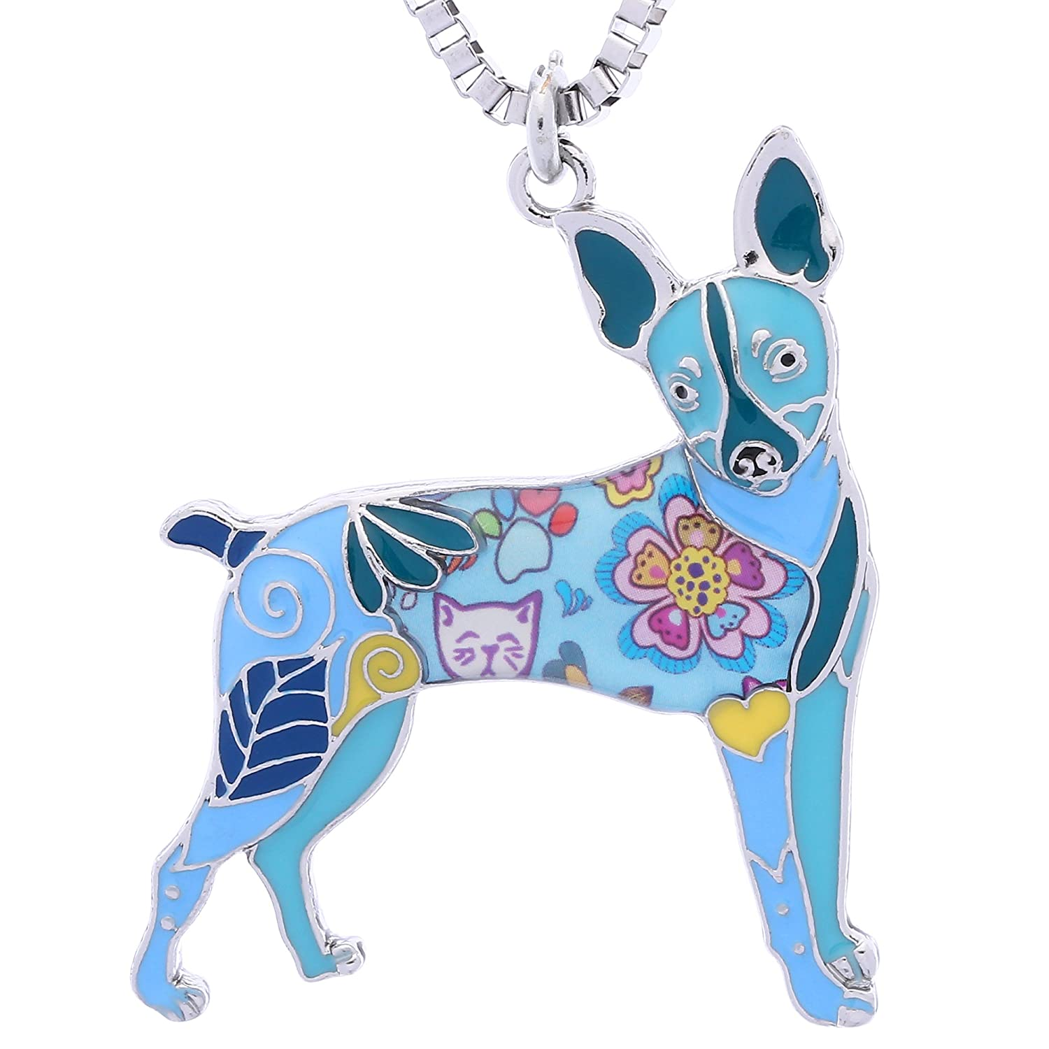 Luckeyui Toy Fox Terrier Gifts Necklace for Dog Lovers Unique Women Handmade Pets Jewelry LUCKY014-Black