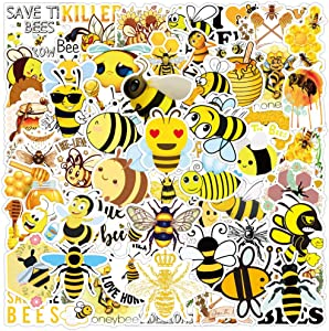 50pcs Lovely bee Cute Honey Stickers for Water Bottles Laptop Hydroflasks Phone Skateboard Crown Bee Insect Bugs Bumble Bee Funny Vinyl Sticker Waterproof Aesthetic Decals - Save The Bees