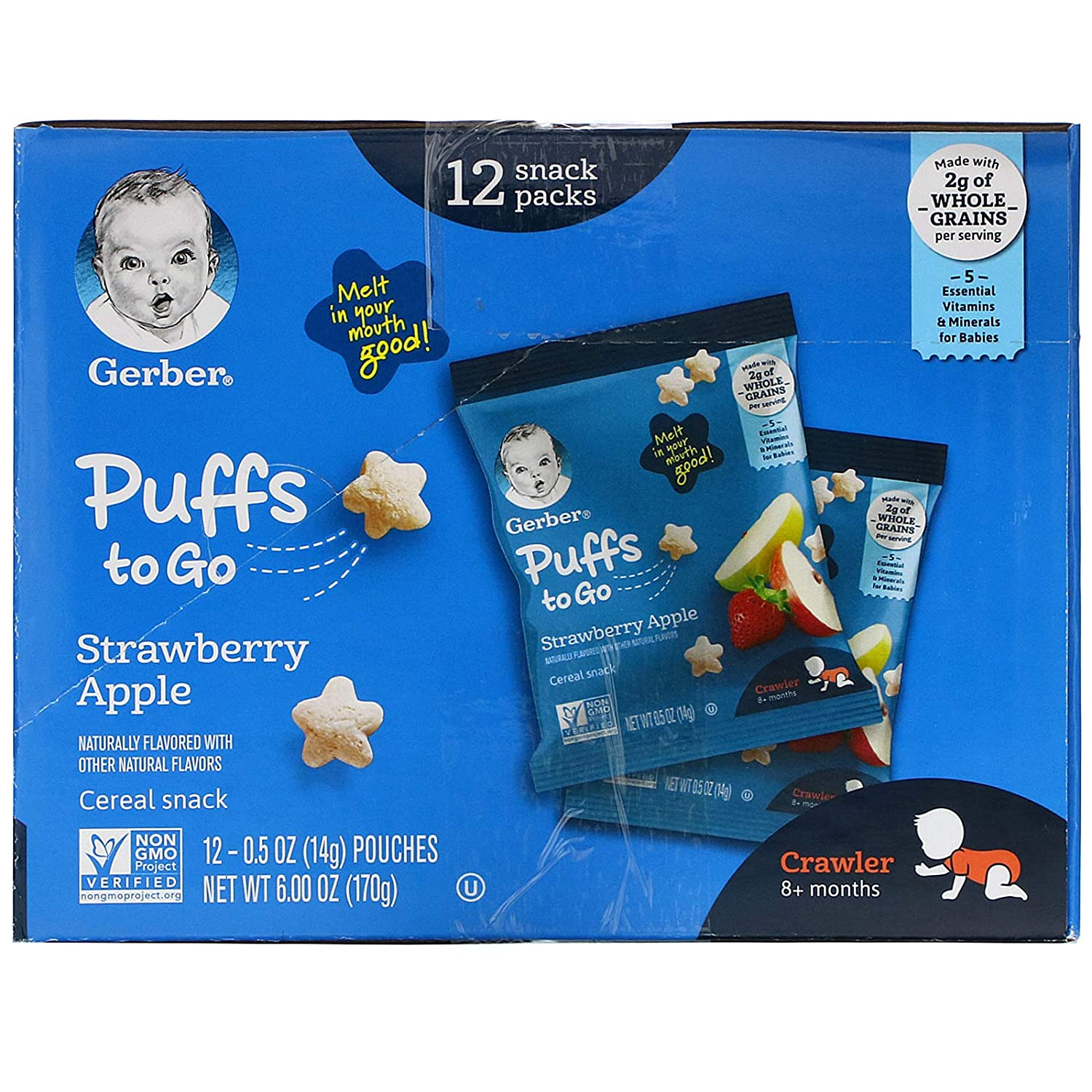 Gerber Puffs to Go, 8+ Months, Strawberry Apple, 12 Snack Packs, 0.5 oz (14 g) Each