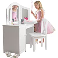 KidKraft Deluxe Vanity and Chair, Wood, White