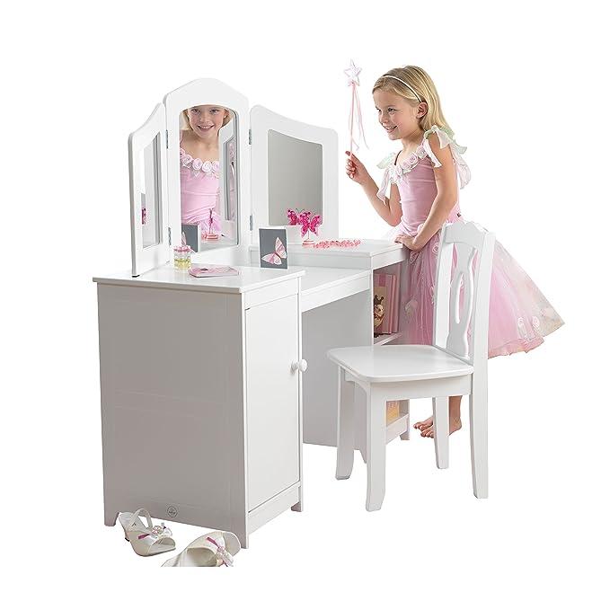 KidKraft 13018 Tocador Deluxe con espejo y silla de madera, muebles para salas de juego y dormitorio de niños: Amazon.es: Hogar