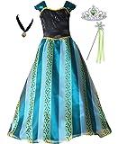 Cokos Box Girls Coronation Dress Princess Costume Necklace Tiara Wand Set