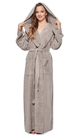 c07a4478e6 Arus Womens Princess Robe Ankle Long Hooded Silky Light Turkish Cotton  Bathrobe Gray Small