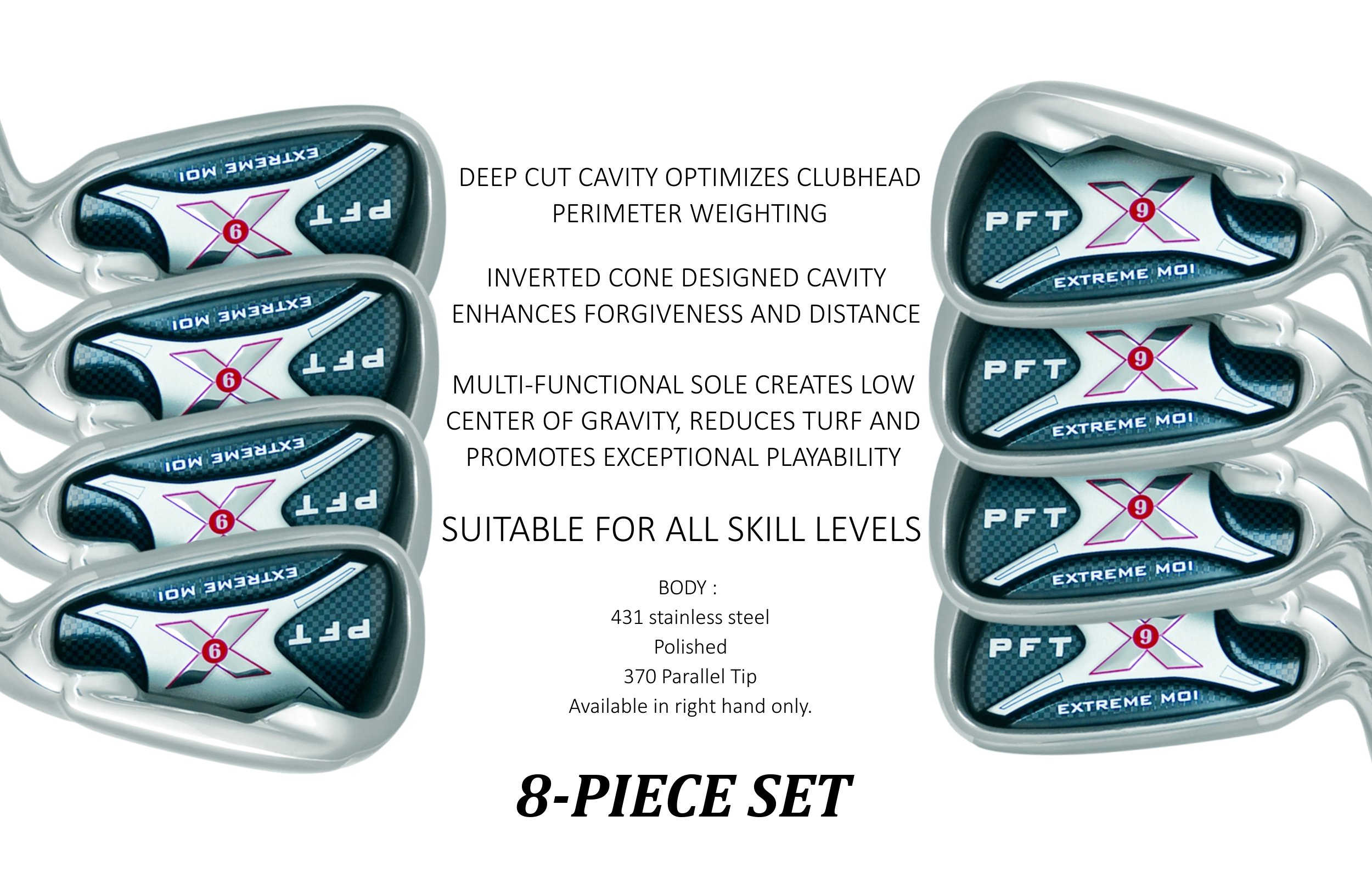 PFT X9 High Moi Extreme 9 Iron Set Golf Clubs Custom Made Right Hand Stiff S Flex Steel Shafts Complete Mens Irons Ultra Forgiving OS Oversized Wide Sole Ibrid Club by PFT X9 (Image #2)