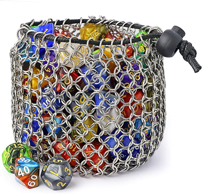 Dungeons and Dragons Rainbow chainmail dice bag