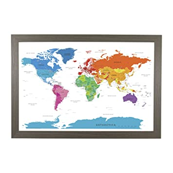 Amazon.com: Push Pin Travel Maps Colorful World with Barnwood Gray ...
