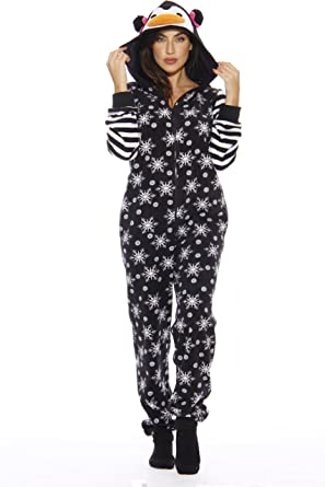 1411ccf02afe Amazon.com  Just Love Holiday Penguin Adult Onesie Pajamas  Clothing