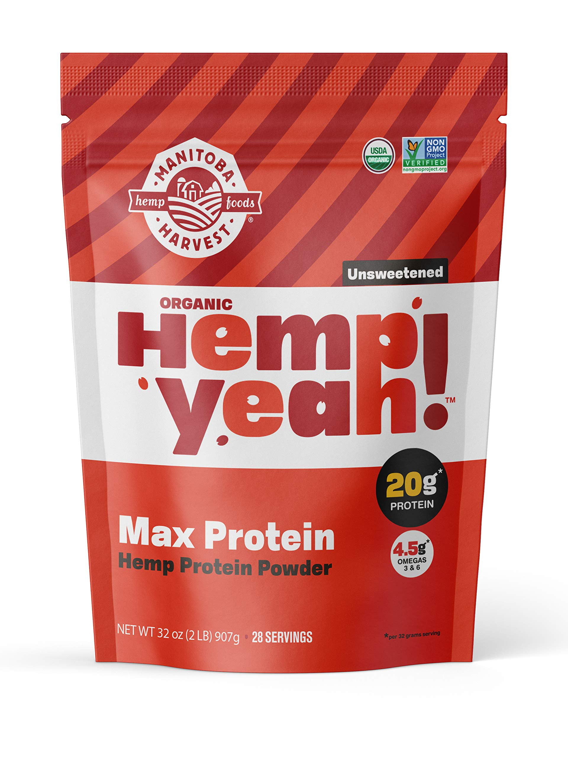 Manitoba Harvest Hemp Yeah! Organic Max Protein Protein Powder, Unsweetened, 32oz; with 20g protein and 4.5g Omegas 3&6 per Serving, Keto-Friendly, Preservative Free, Non-GMO by Manitoba Harvest