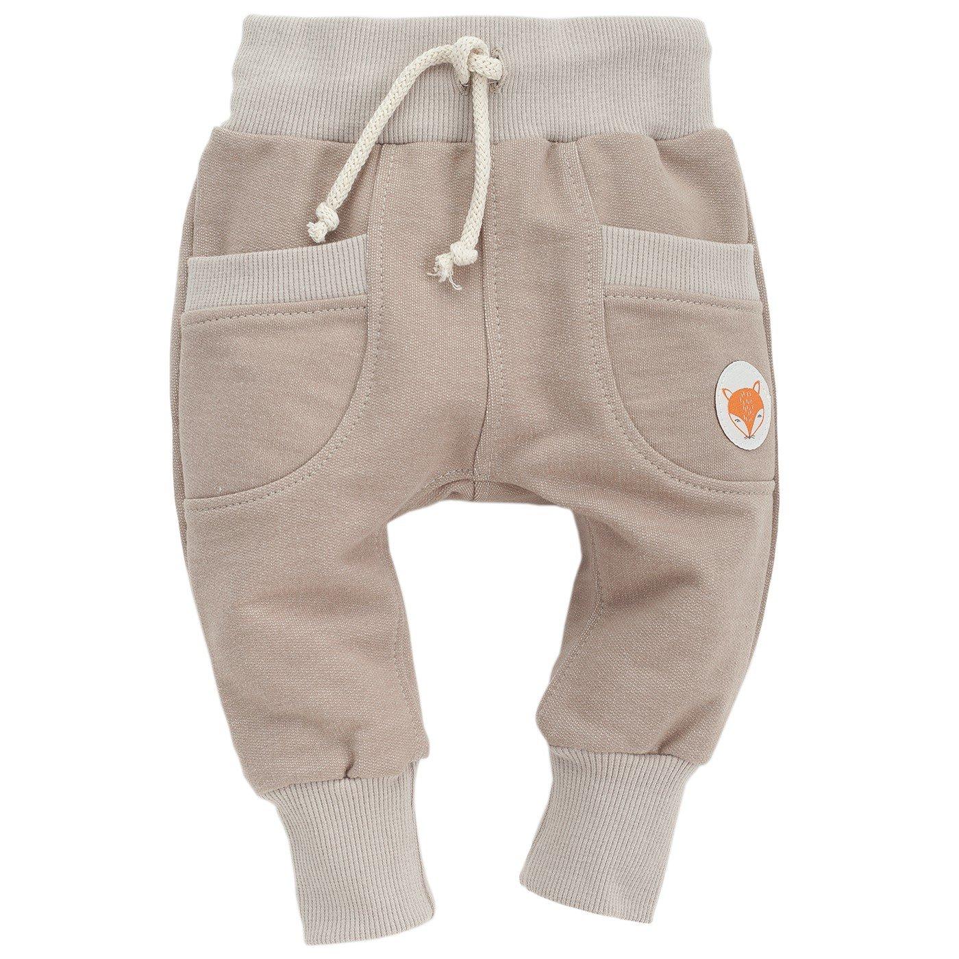 Pinokio–Smart Fox–Baby pantaloni 100% cotone, beige con volpe–Pantaloni da jogging, sonno Hose, Pantaloni harem–Elastico in vita