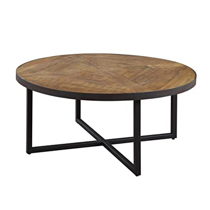 Amazoncom Emerald Home Denton Antique Pine Coffee Table With Round