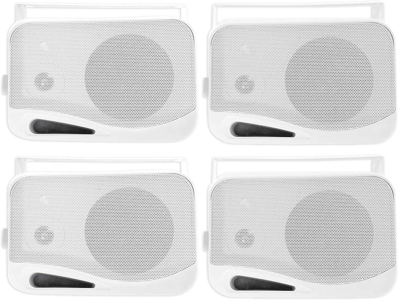 """(4) Rockville HP4S-8 4"""" Outdoor/Indoor Home Theater Speakers w/Swivel Brackets"""