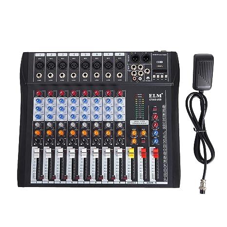 Guellin Mezclador de Audio Consola de Mezcla 48V Mezclador de Sonido de Audio USB MP3 para