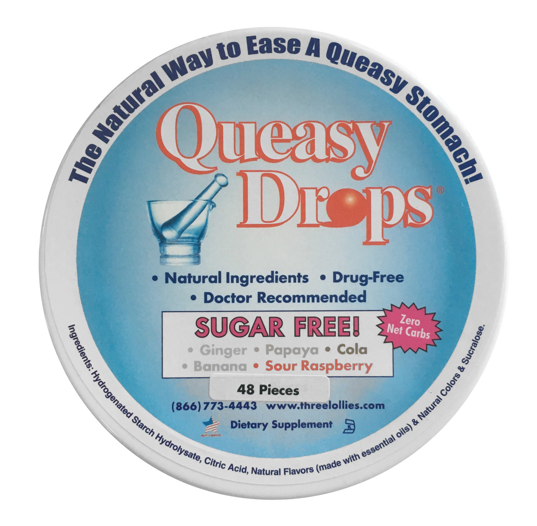 Three Lollies Queasy Drops Sugar Free Assorted for Nausea Relief, 48 Count