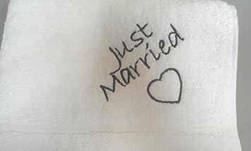 Regalos de boda – novia, novio, Just Married, Mr & Mrs – Toallas