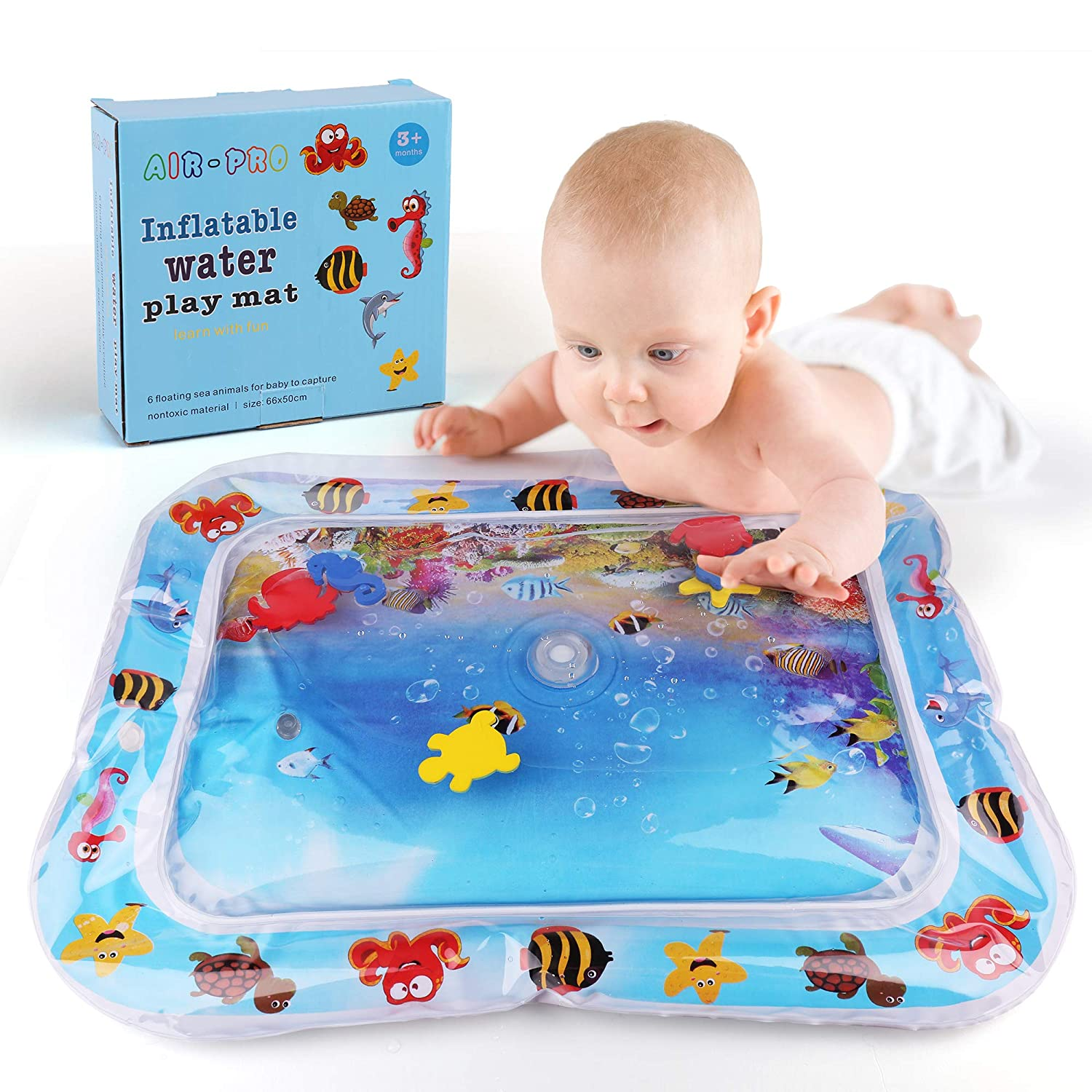 Inflatable Tummy Time Baby Water Play Mat for Baby, Fill N Fun Water Play Mat for Fun, Indoor & Outdoor Pad for Infants & Children, Leak proof, Activity Play Center Promotes Visual Stimulation 26'x20' Activity Play Center Promotes Visual Stimulation 26x20