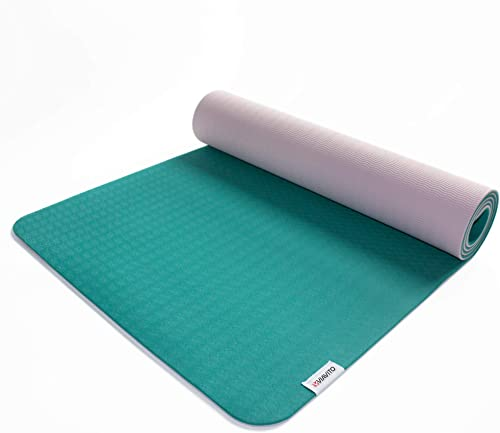 Viavito Ayama 1 4 Inch TPE Yoga Mat with Carry Strap, Color- Green Blush