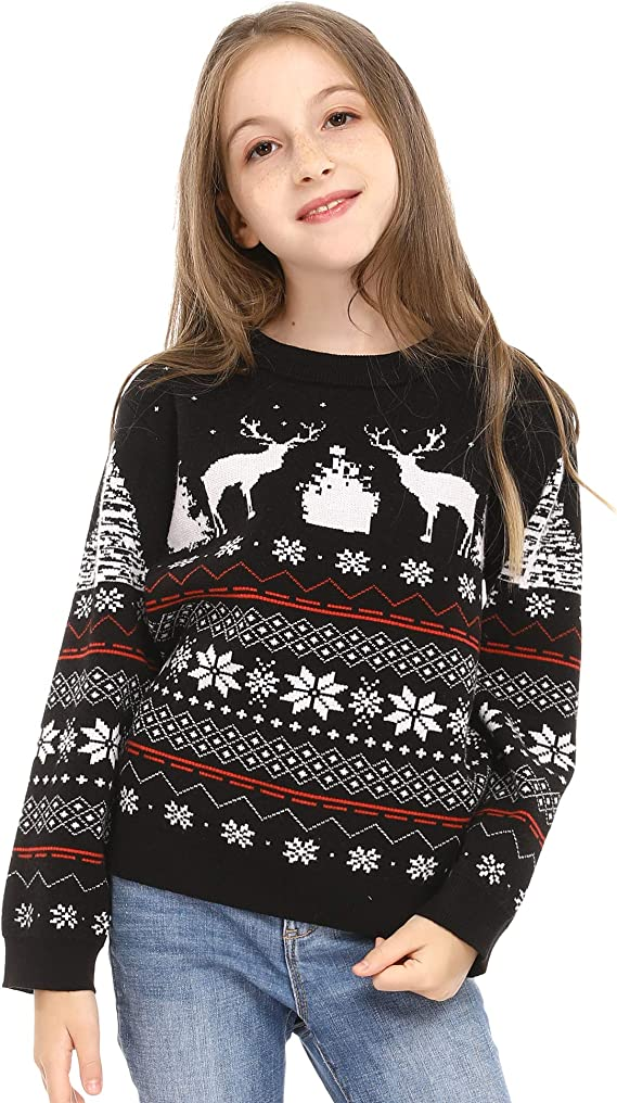 Aibrou Pull de No/ël Famille Christmas Pullover Sweat Homme Femme Enfant No/ël Neige Wapiti Tricot Sweatshirt Parent-Enfant Automne Hiver pour F/ête No/ël