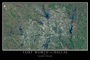 Amazon Com Dallas Fort Worth Texas Satellite Poster Map L 24 X 36