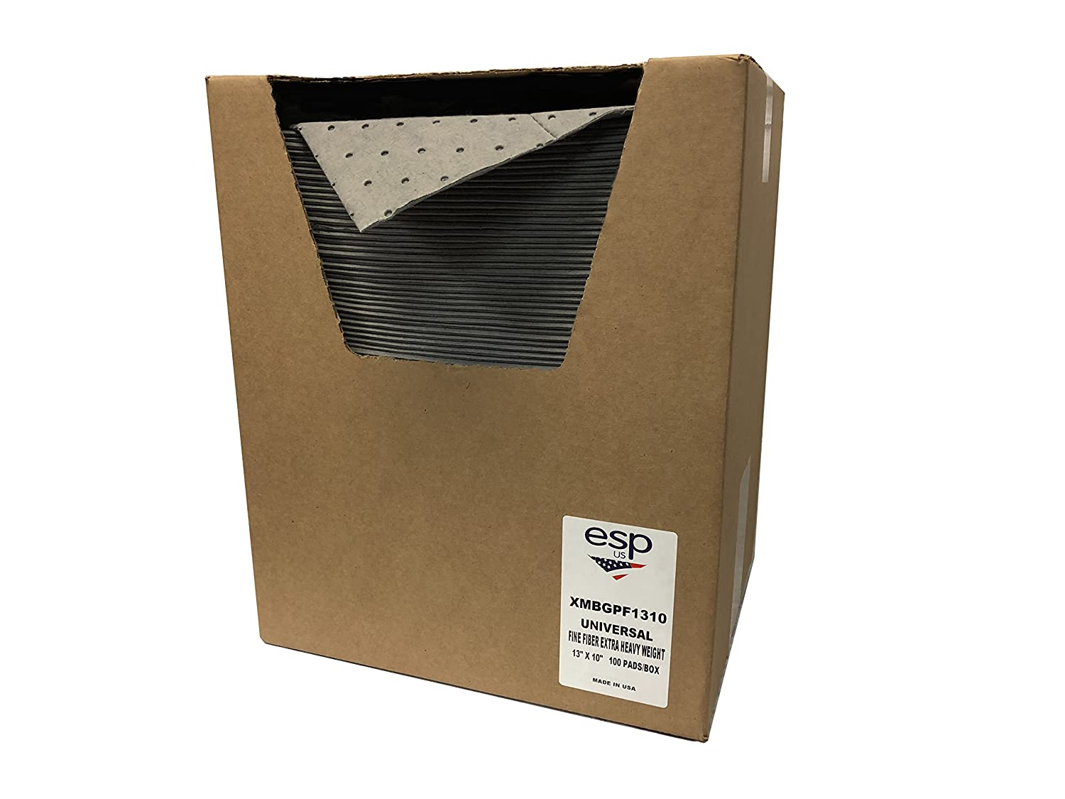 """NPS Spill Control XMBGPF1310 Extra Heavy Absorbent, 12 Gal Capacity, Polypropylene, Gray Pad (13"""" x 10"""") 100/Box: Industrial & Scientific"""