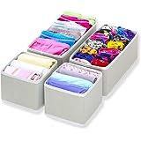SimpleHouseware Foldable Cloth Storage Box Closet Dresser Drawer Divider Organizer Basket Bins for Underwear Bras, Gray (Set