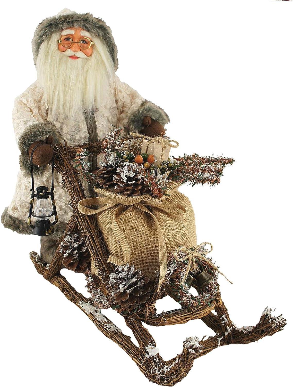 """Santa's Workshop 7661 Woodsman On Mushing Sled Figurine, 18"""", Multi"""