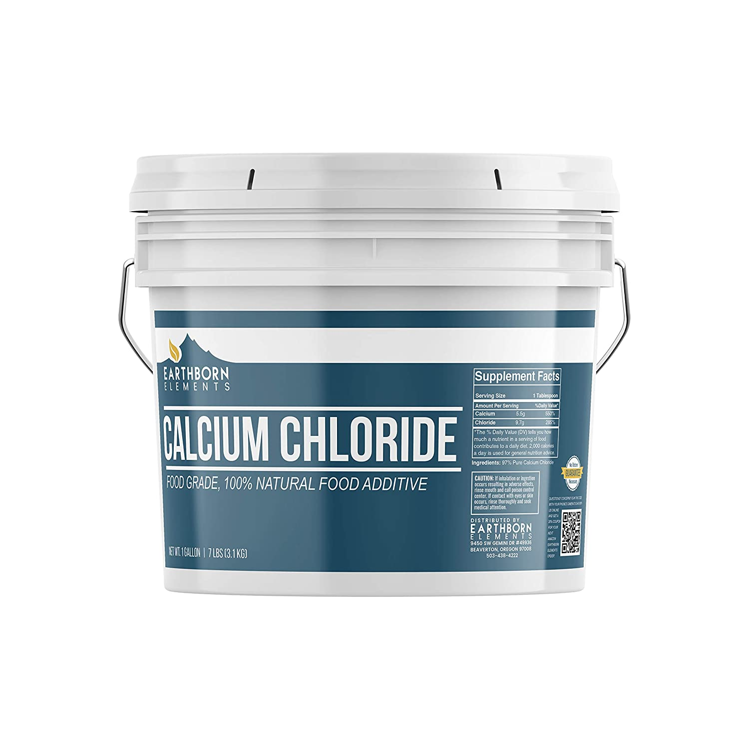 Calcium Chloride (1 Gallon Bucket, 7 lb) by Earthborn Elements, Food Grade, Brewing/Winemaking, Pickling, Cheesemaking, Sports Drinks, Food Additive/Preservative, Resealable Bucket