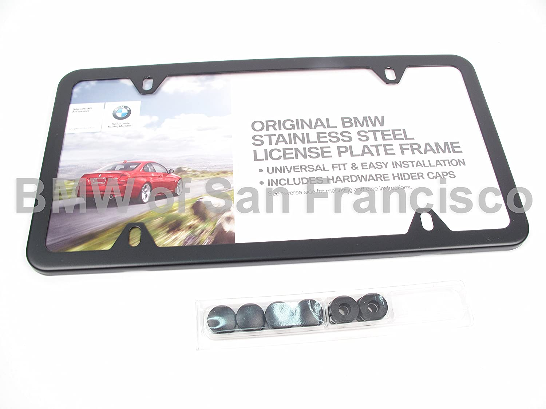 Amazon.com: BMW License Plate Frame Stainless Steel BLACK SLIMLINE ...