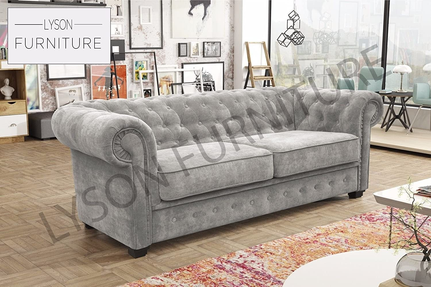 Lyson Furniture Imperial - Estilo Chesterfield - sofá - Tela ...