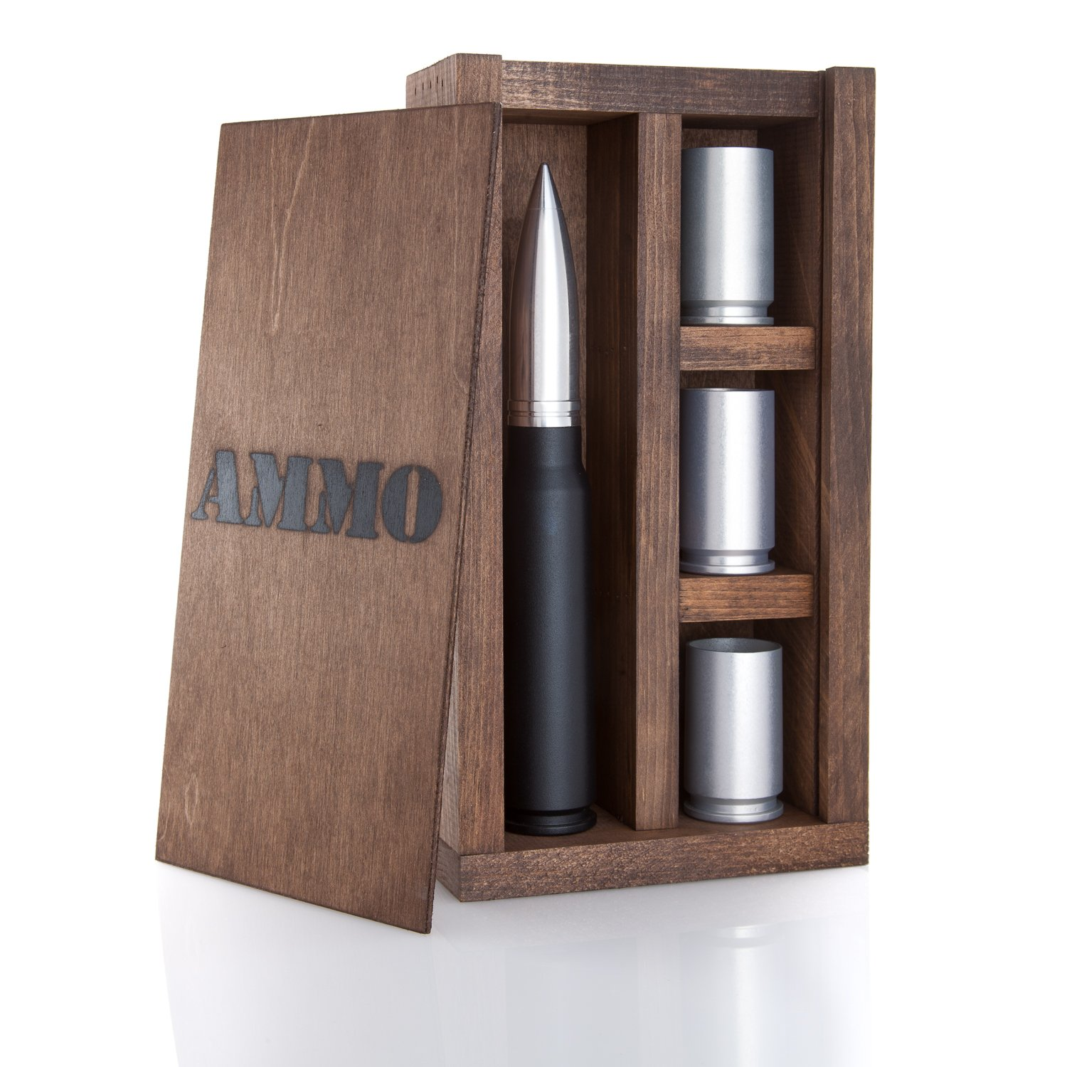 Ammo Box Wall Mount Flask and Shot Glass Bar Set made in the USA from Real 30MM A-10 Cannon Rounds by Lucky Shot (Image #2)