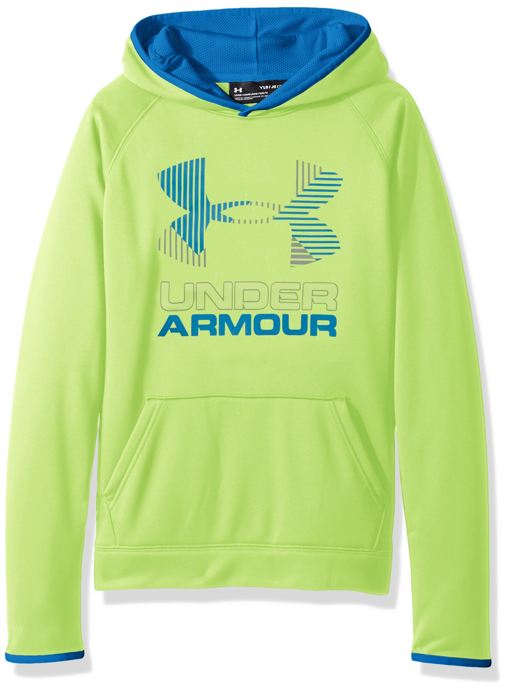 Under Armour Boys' Armour Fleece Solid Big Logo Hoodie, Quirky Lime /Steel, Youth X-Small by Under Armour