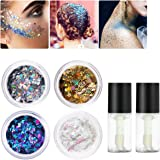 Cosmetic Glitter For Face, Body and Hair, PIXNOR 4 Colors Holographic Glitter with 2pcs Long Lasting Fix Gel for Versatile Festival, Rave, Party, and Beauty Makeup
