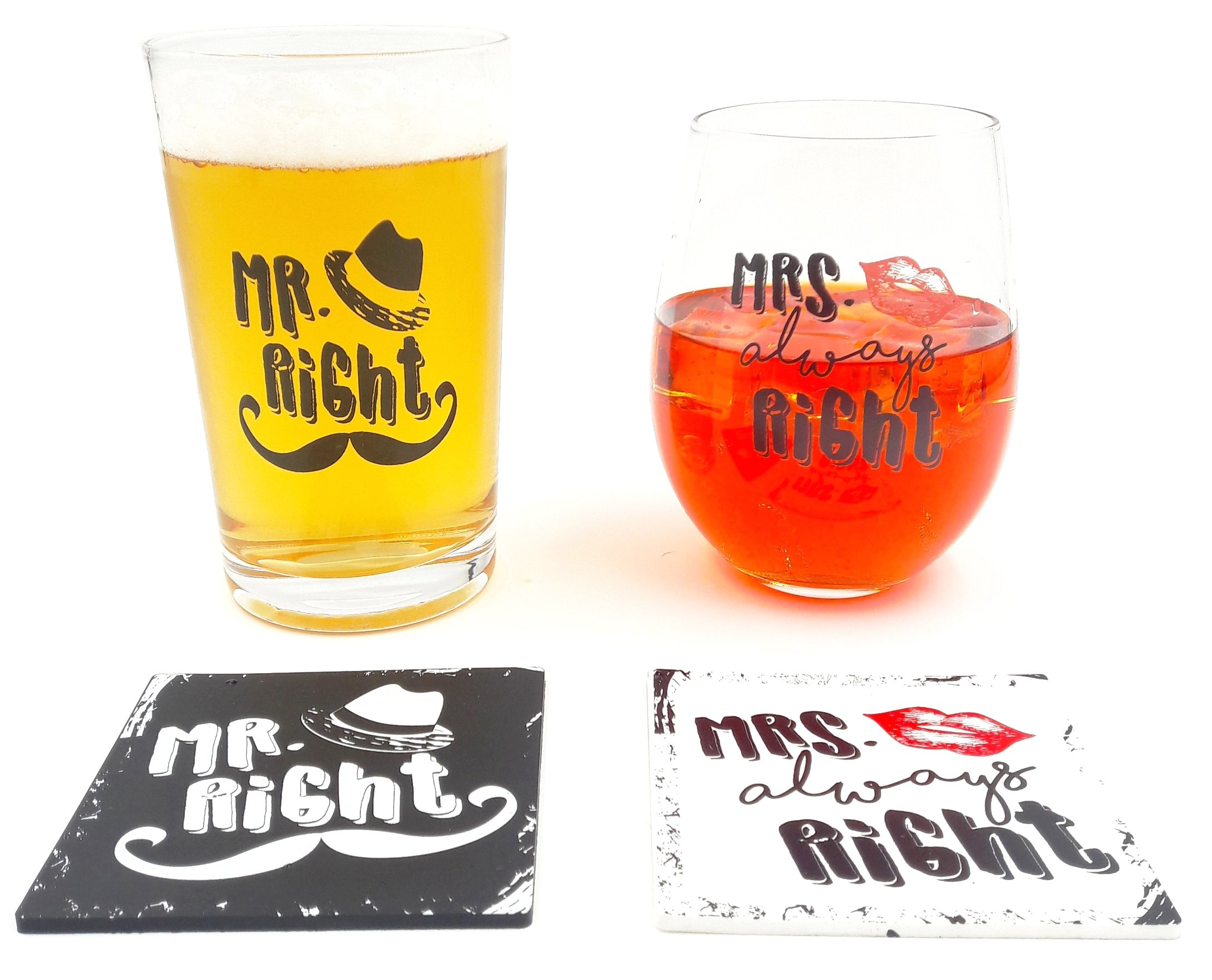 The Mediaholics Mr. Right and Mrs. Always Right - Beer Pint Glass & Wine Glass Combo with Coaster Set - Funny Novelty Present for Wedding Engagement Housewarming Couples - With Gift Box