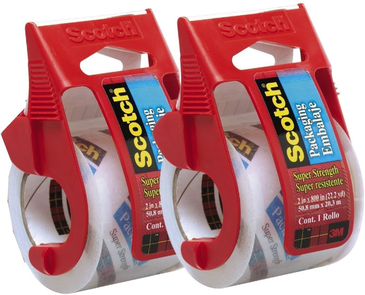 Scotch Heavy Duty Packaging Tape, 2 Inches x 800 Inches, Clear - 2 Count