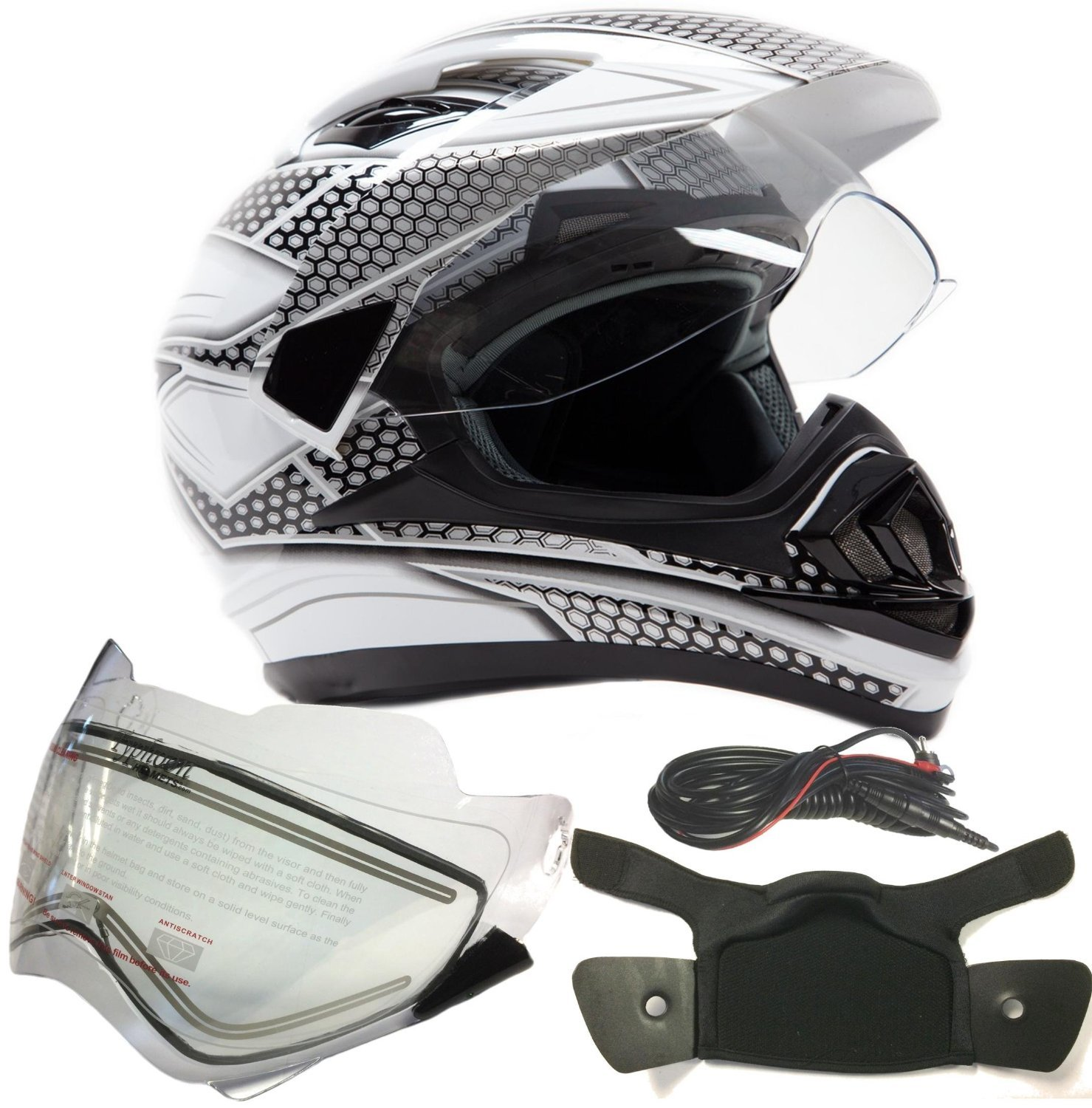 Dual Sport Snocross Snowmobile Helmet w/ Electric Heated Shield - White / Silver - XL