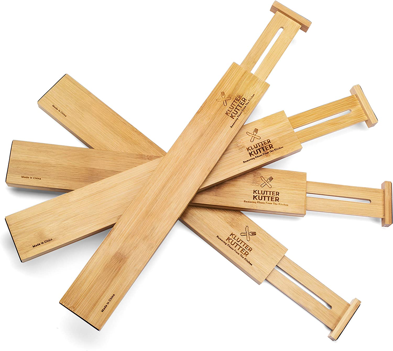 "KLUTTER KUTTER ""The Original Bamboo Drawer Divider Spring Adjustable & Expandable, Durable, All Natural Bamboo Drawer Divider, Steel Spring Loaded, Non-Slip Grip Edges"