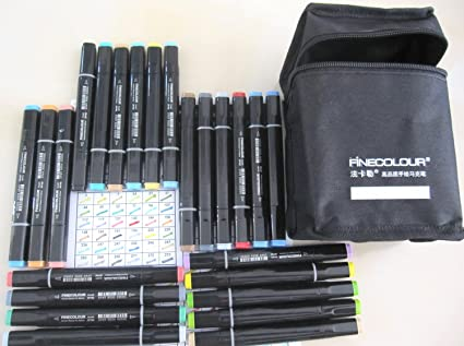 FINECOLOUR Brush Marker Set, Basic 36-color Set for Cartoon Anime Design, Manga