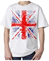 Kids Union Jack Distressed T-Shirt (White)