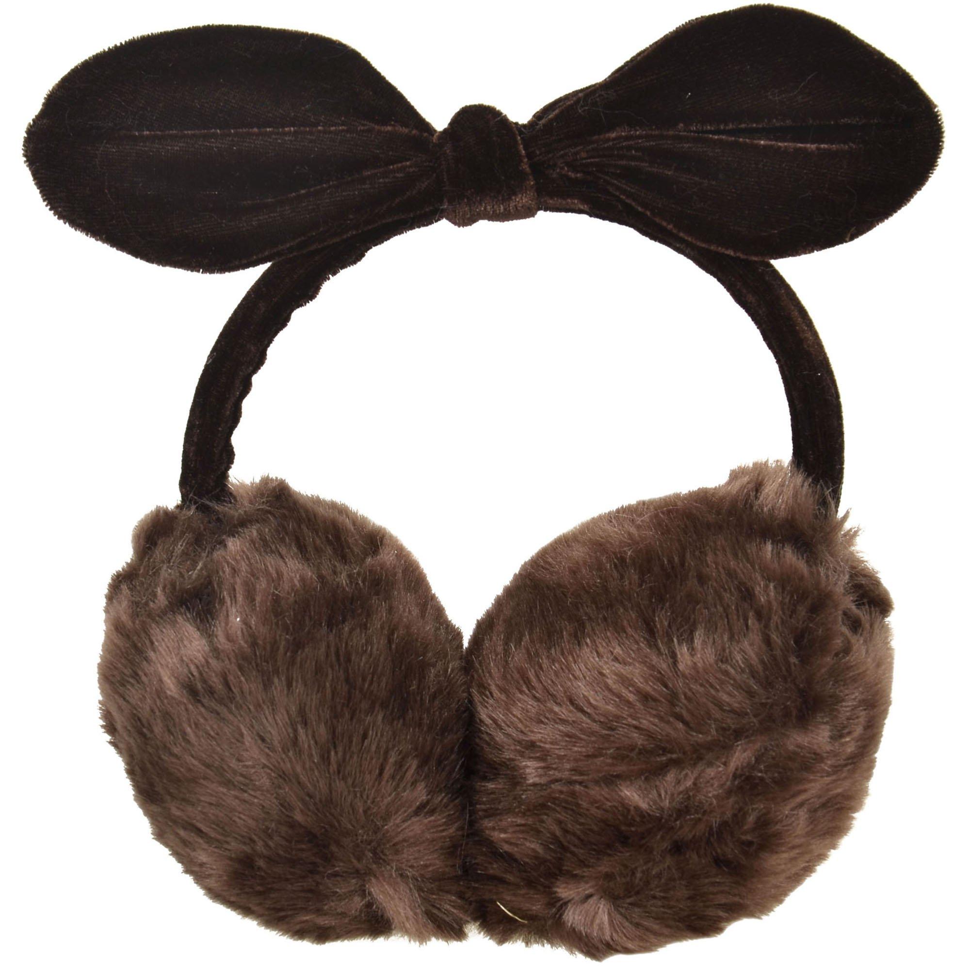 Simplicity Women's Faux Fur Fleece Ear Warmers Ear Muffs Fleece Bow, Coffee