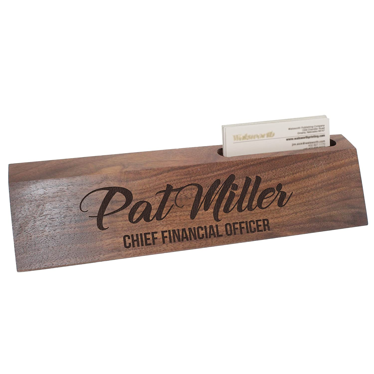 b1e61d85c5ed8 Custom Engraved Desk Name Plate - Personalized Desk Wedge with Business  Card Holder (Walnut Wood)