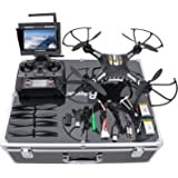 Potensic Drone with HD Camera, F183DH Drone RC Quadcopter RTF Altitude Hold UFO with Newest Stepless-speed Function,2MP Camera& 5.8Ghz FPV LCD Screen Monitor & Drone Carrying Case - Black