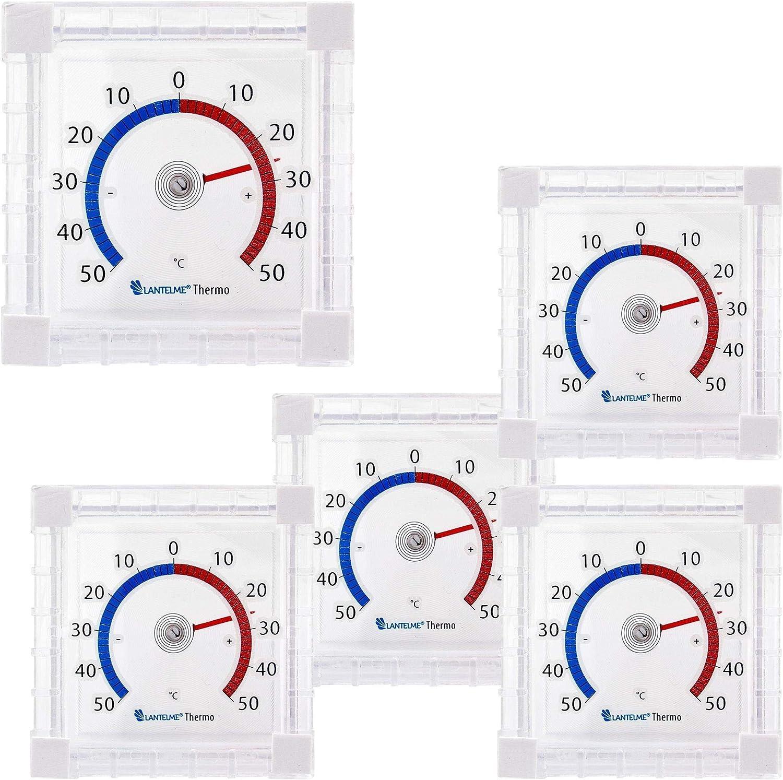 Lantelme 5 Stück Fensterthermometer Set Selbstklebend Für Außen Am Fenster Oder Wand Analog Thermometer Zum Ankleben 8173 Garten